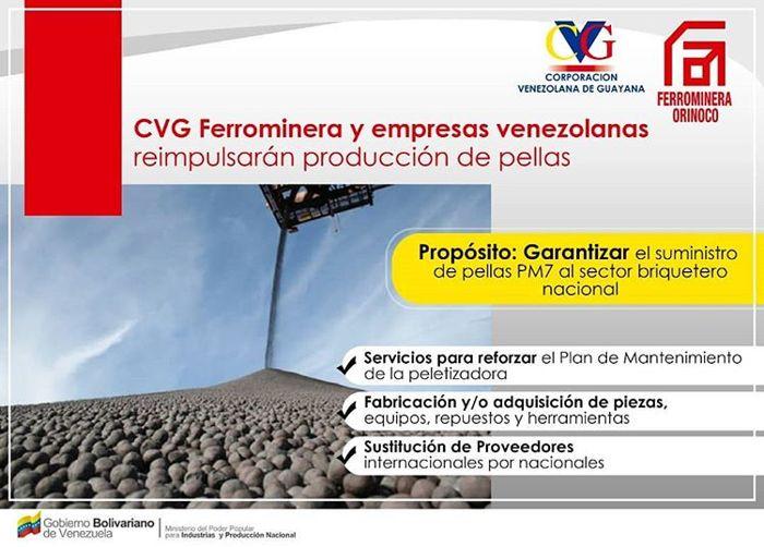 Ferrominera garantiza el suministro de pellas PM7 al sector briquetero nacional